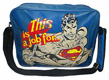 AWESOME RETRO 'THIS IS A JOB FOR..' SUPERMAN BLUE MESSENGER/ SHOULDER BAG (NEW)