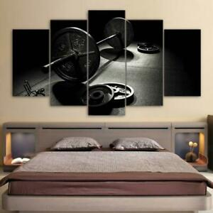 Weightlifting Bodybuilding Fitness Gym Exercise Room Framed 5 Piece Canvas Wall