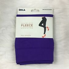 DNLA Sport Womens Legging One Size Fits Most Purple Seamless Fleece Poly Spandex