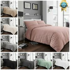 Seersucker Ruched Duvet Quilt Cover with Pillowcases Bed Linen Bedding Set
