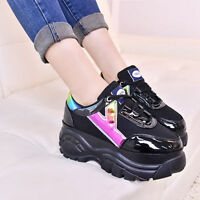 Retro Womens Lace Up Wedge Heel Platform Sneakers Sport Trainer Athletic Shoes W