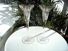 "Set of 2 Mikasa Tiara Pattern 8 1/2"" Tall Crystal Candlestick Holders Gold Rim"
