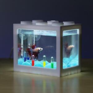 Small USB Aquarium Fish Tank With LED Light Office Desktop Home Decor Kids Gift