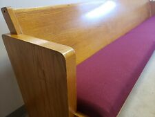 9'6 Gold Oak Church Pew, each w/red cushion & Book Pocket- Pickup Only! 18 avail