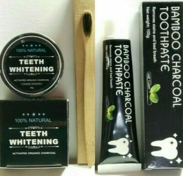 Natural Organic Black Charcoal Teeth Whitening Powder 1Toothpaste 1Toothbrush