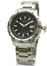 New Nautica Stainless Steel Dress Date Men Watch 47mm N14619G $145