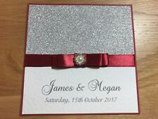 50 Wedding Invitations - Silver Sparkly Glitter Card & Claret Double Bow
