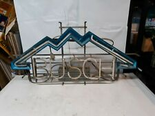 "Vintage Busch Beer Neon Bar Sign Light Mountains 33"" X 16"" Parts or Repair"