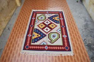 Wool Area Rug Hand-Woven Geometric Kilim 4'x6' Oriental Traditional Foyer Carpet
