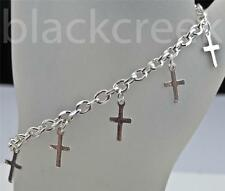925 Solid Sterling Silver ~ 7-8 Inch Adjustable Charm Bracelet w/10 Cross Charms