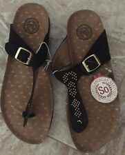 NEW CUTE WOMENS GIRLS SO KOHL'S BLACK BROWN SLIDES T STRAP SANDALS SHOES, SIZE 8