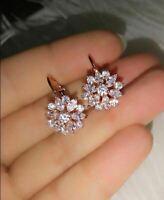 1.75Ct Marquise Cut VVS1 Diamond Cluster Leverback Earrings 14K Rose Gold Finish
