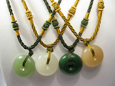 Handcrafted knot work cord adjustable jade safty blessing donut pendant/necklace