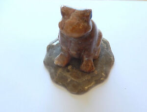 Figurine-Bull Frog-Marble-grays browns Hand Crafted Art-Beautiful