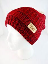 Red black knit beanie hat ladies one size classic Britt's Knits