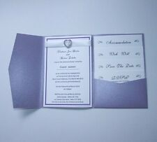 1set -Pearl Purple Vintage Wedding Invitations DIY Pocket Fold Envelopes Invite
