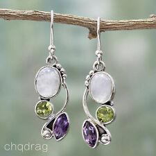 925 Silver Natural Moonstone Peridot Drop Dangle Hook Earrings Fashion Jewelry