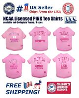 NCAA PINK Tee Shirts for dogs & Cats - Licensed, available in 6 Collegiate Teams
