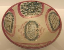 Sunderland pink lustre Bowl   Antique  pottery c 1840 Jack's Return Fairwell