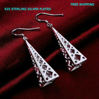 New Women Fashion Jewelry 925 Sterling Silver Plated Dangle Drop Hook Earrings
