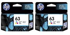 Genuine HP 63 Tri-Color Ink Twin Pack EXP. 2018-2019 - ENVY 4512,4513,4520