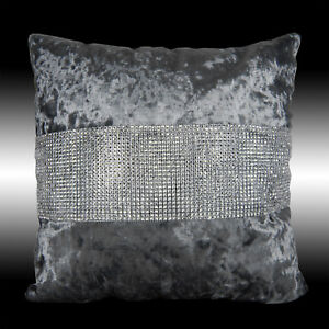 """SHINY BLING SILVER GRAY THICK SOFT VELVET CUSHION COVER THROW PILLOW CASE 17"""""""