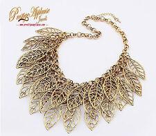 Hojas de moda de ORO De Bronce Retro Elegante Collar Joyería