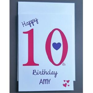 Personalised 10th Birthday Card Girl - 10 Years Old Daughter Granddaughter Niece