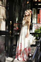 MANGO HEM BEGONIA FLORAL ROSE MAXI DRESS wedding - RARE SOLD OUT - EU XS - US 2