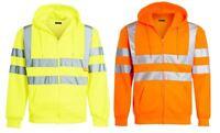 Mens Zip Up Fleece Hooded Hi Viz Visibility Sweatshirt Security Work Jumper Top