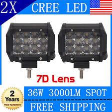 """2x 4""""INCH 36W TRI-ROW 7D CREE LED Work Light Bar Spot Offroad VS 18W Pickup 3"""""""