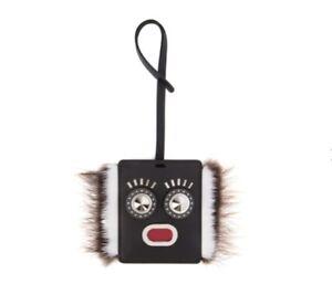 Fendi Black Leather Luggage Handbag Charm Tag Monster Face New