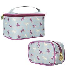 TaylorHe Vanity Bag + Make-up Bag Combo Cosmetic Case Horses Green Purple