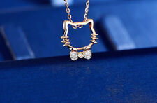 Rose Gold Cat Pendant 925 Sterling Silver Necklace Womens Jewellery Xmas Gift UK