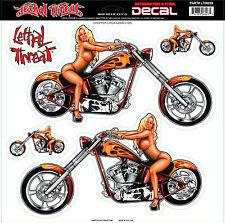 Lethal Threat Sticker Adhesivo XL Chopper Chick auto bike casco Chopper Harley
