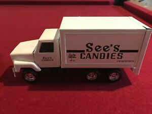 VTG ERTL See's Candies White Die-Cast Metal Delivery Truck Model 1987 10""