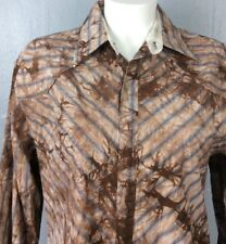 English Laundry Mens Brown Cotton Embroidered Snap Cuffs Button Shirt Sz XXL