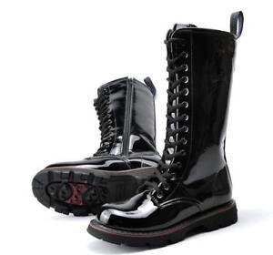 Punk men's military knee high locomotive boots patent leather combat lace size