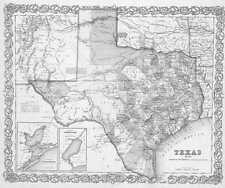 1856 TEXAS MAP TX Farmers Branch Flower Mound Forest Hill Forney Fort Worth Hood