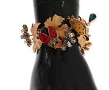 Gold Brass Crystal Ladybug Leaf Statement New $1380 Dolce & Gabbana Bracelet