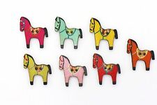 Horse Wooden Buttons Two Holes Colorful Animal Shape Large Mix Color 31mm 3pcs