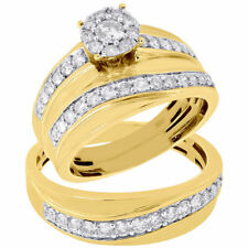 Diamond Yellow Gold Finish His And Her Trio Wedding Sets Engagement Bridal Ring