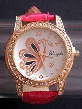 Superbe montre fantaisie femme ou adolescente cadran décoré papillon et strass
