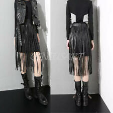 NEW Ladies Hippie Boho Fringe Tassel Black Faux Leather PU Long Belt Skirt 72cm