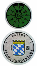 German License Plate Registration Seal - Ingolstadt Audi 2018 Set