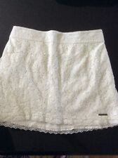 Abercrombie & Fitch Womens Mini Lace Skirt XS White With White Sequins Lined