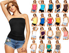 Ladies New Plain Strapless Sleeveless Ruched Boob Tube Women's Bandeau Top 8-24