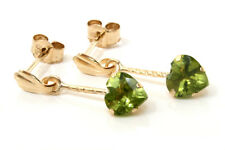 9ct Gold Peridot Dangly drop heart Earrings Gift Boxed Made in UK