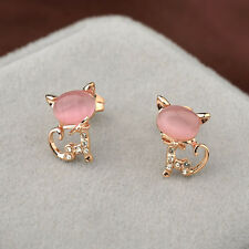 GORGEOUS 18K ROSE GOLD PLATED PINK GENUINE AUSTRIAN CRYSTAL PUSSY CAT EARRINGS