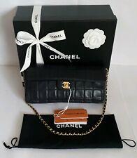 Authentic Vintage Chanel Navy Chocolate Bar Single Flap Lambskin Shoulder Bag